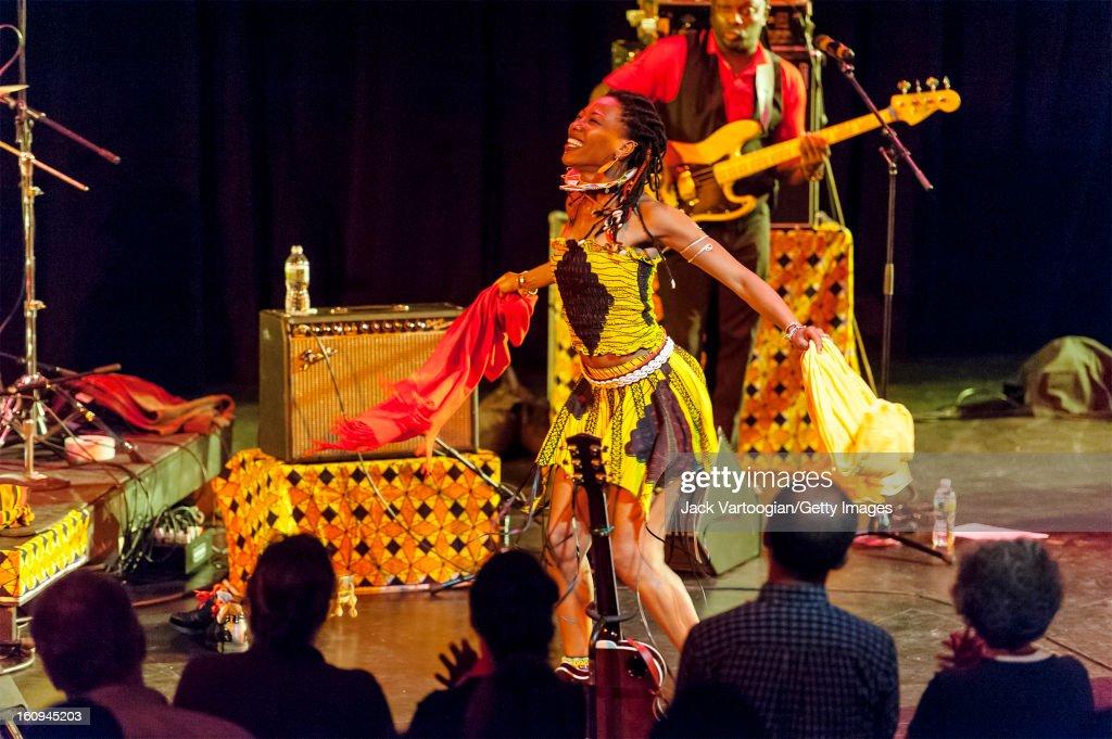 Malian vocalist Fatoumata Diawara performs at Pace University's Michael Schimmel Center for the Arts, New York, New York, September 28, 2012.
