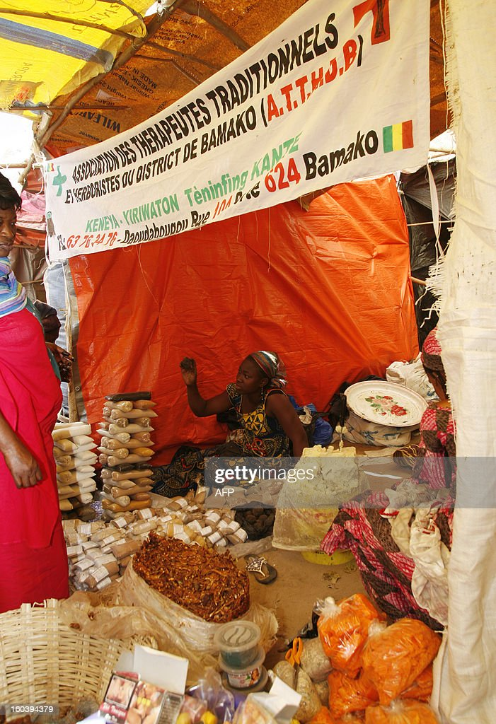 Malian woman sells products at a stall in a makeshift market in Ndiassane, Senegal, which caters to Muslims coming to the city for an annual pilgrimage organized by the 'Khadrya brotherhood', on January 30, 2013. This year's pilgrimage in Ndiassane is dedicated to 'Peace in Mali' and is an occasion for many Malian merchants to sell goods to pilgrims. AFP PHOTO / Mamadou Toure BEHAN