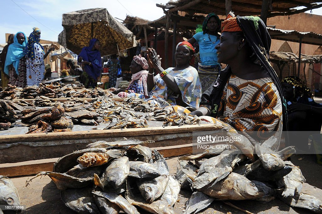 Malian women sell dried fish on February5, 2013 in Douentza market. The town was retaken by French and Malian troops in January. AFP PHOTO / PASCAL GUYOT
