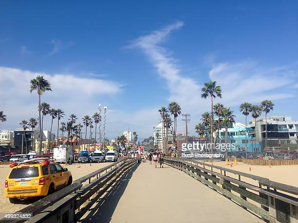 Malibu Beach, Los Angeles County, pedestrian walkway and view of the urban waterfront
