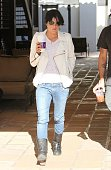 Malibu California September 19 2010 Wearing a white Perfecto shaped jacket from Ever brand Selma Blair and boyfriend Mikey Day goes shopping at The...