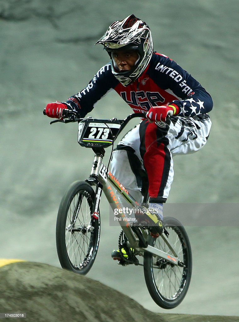 Maliek Byndloss of the USA competes in the Junior Mens time trial during day four of the UCI BMX World Championships at Vector Arena on July 27, 2013 in Auckland, New Zealand.