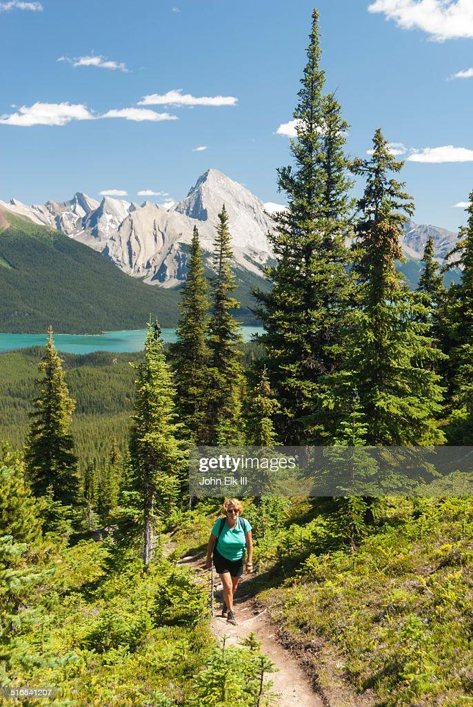 Maligne Lake, hiker on Bald Hills trail