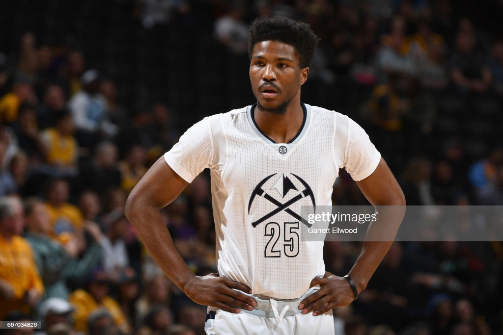 Malik Beasley #25 of the Denver Nuggets looks on during the game against the Los Angeles Lakers on March 13, 2017 at the Pepsi Center in Denver, Colorado.
