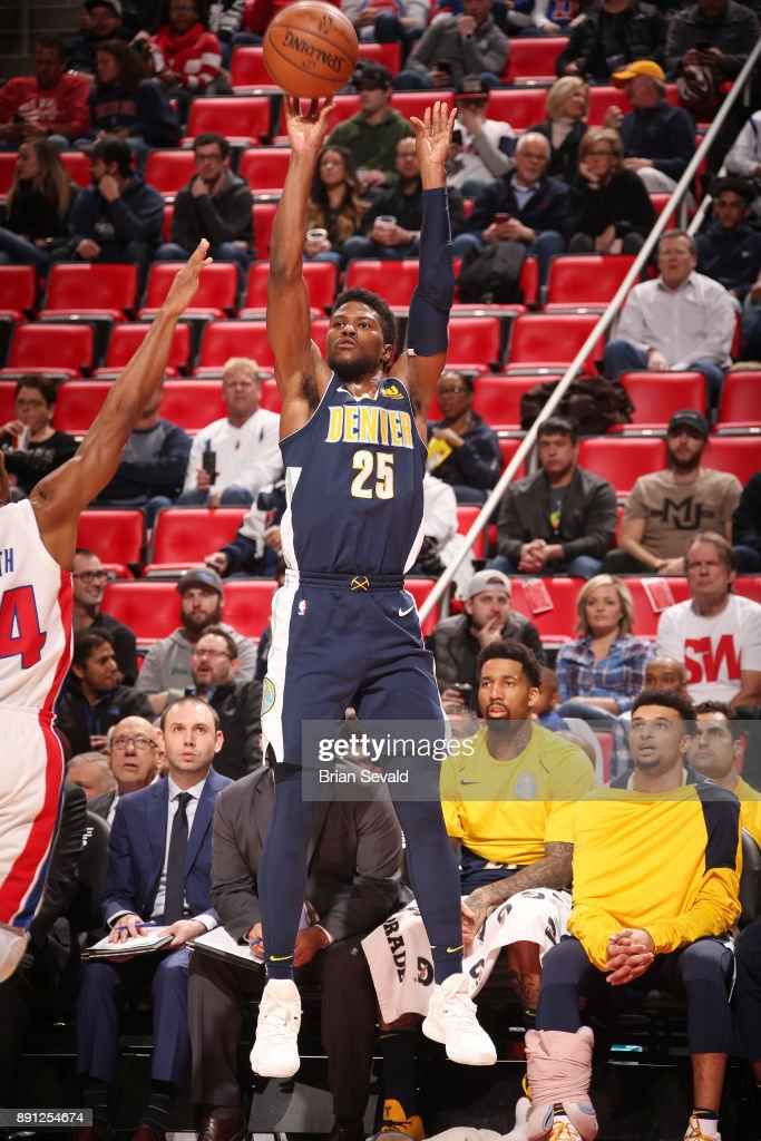 Malik Beasley #25 of the Denver Nuggets shoots the ball against the Detroit Pistons on December 12, 2017 at Little Caesars Arena in Detroit, Michigan.