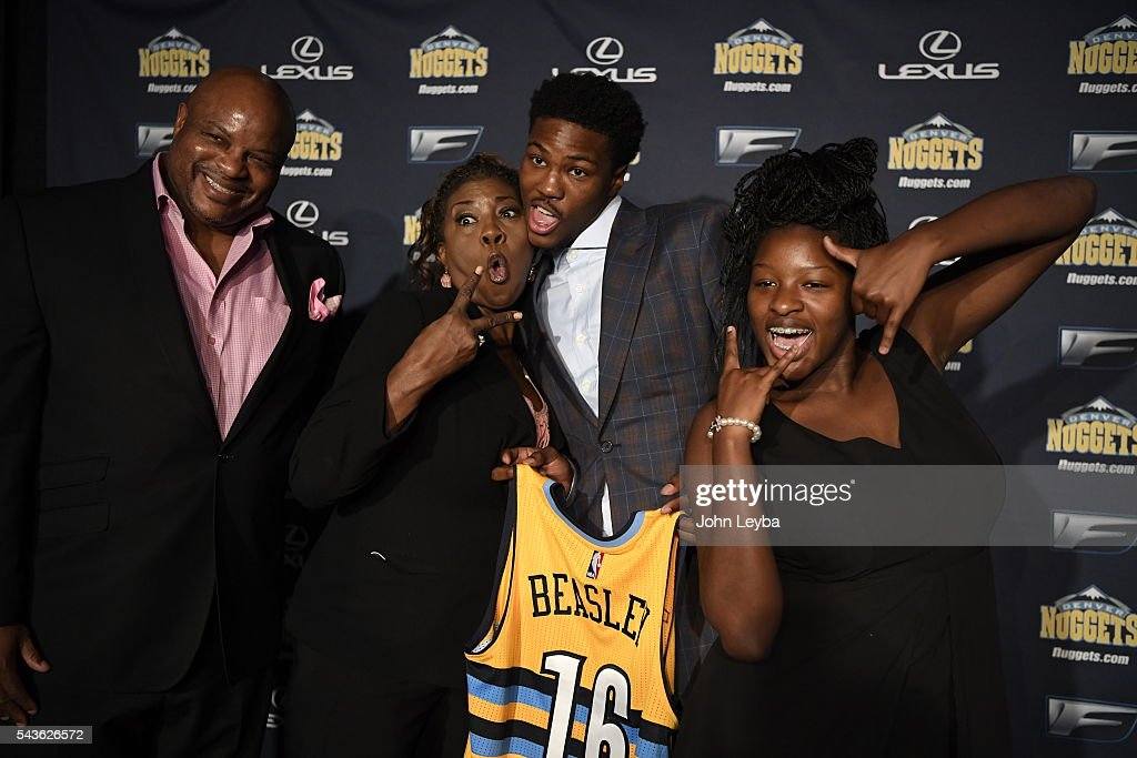 Malik Beasley (middle) poses with his family, dad Michael Beasley, mom Deena Beasley and sister Micah Beasley 15 years old after the press conference. Denver Nuggets introduced their top draft picks during an introductory news conference June 29, 2016 at Pepsi Center.