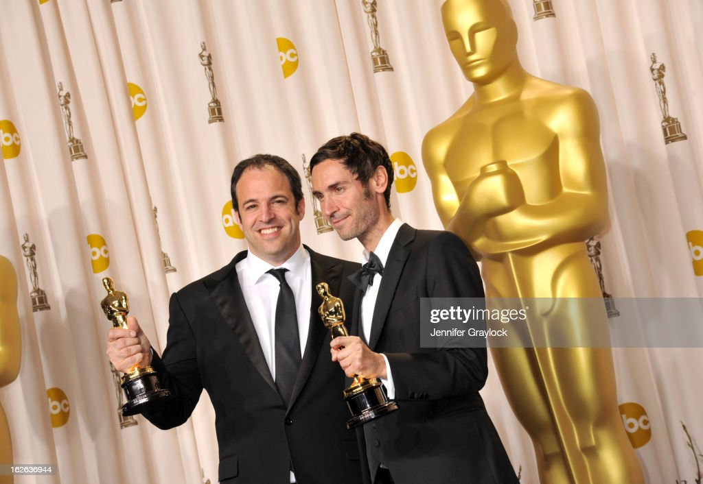 Malik Benjelloul and Simon Chinn pose in the press room during the 85th Annual Academy Awards held at Hollywood & Highland Center on February 24, 2013 in Hollywood, California.