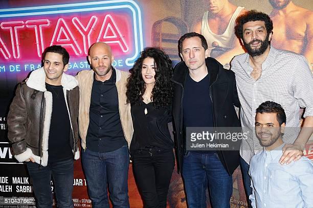 Malik Bentalha Franck Gastambide Sabrina Ouazani Gad Elmaleh Ramzy Bedia and Anouar Toubali attend 'Pattaya' Paris Premiere at Cinema Gaumont Opera...