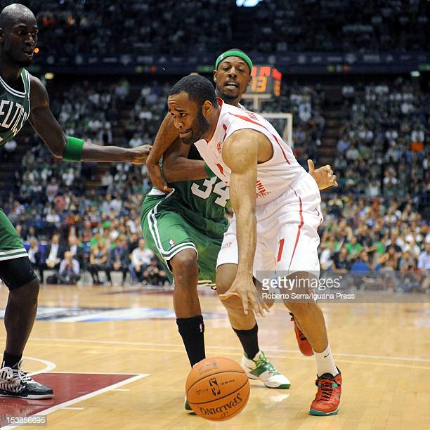 Malik Hairston @ 7 of Armani competes with Paul Pierce of Celtics looks over during the NBA Europe Live game between EA7 Emporio Armani Milano v...