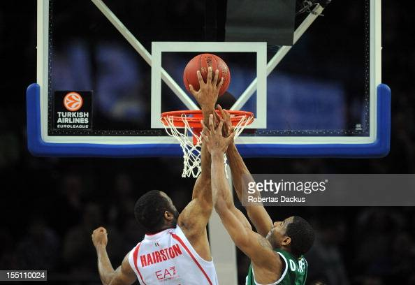 Malik Hairston #7 of EA7 Emporio Armani Milano in action during the 20122013 Turkish Airlines Euroleague Regular Season Game Day 4 between Zalgiris...
