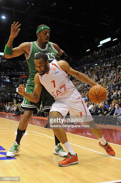 Malik Hairston of Armani competes with Paul Pierce of Celtics during the NBA Europe Live game between EA7 Emporio Armani Milano v Boston Celtics at...