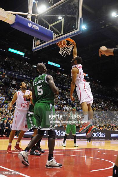Malik Hairston of Armani in action during the NBA Europe Live game between EA7 Emporio Armani Milano v Boston Celtics at Mediolanum Forum on October...