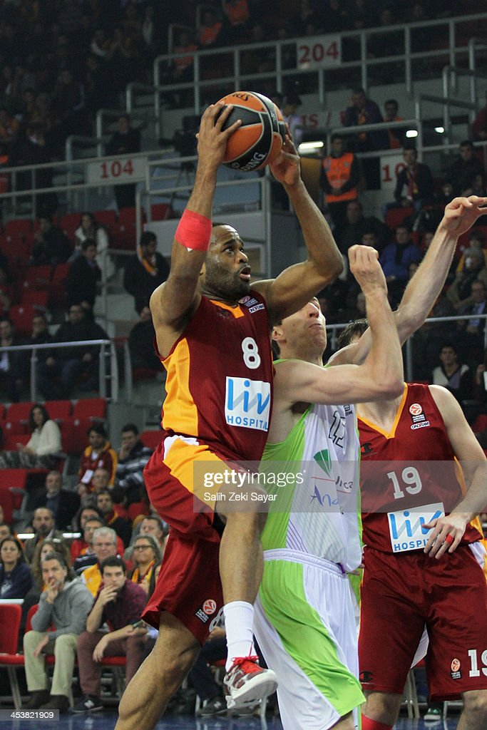 Malik Hairston #8 of Galatasaray Liv Hospital in action during the 2013-2014 Turkish Airlines Euroleague Regular Season Date 8 game between Galatasaray Liv Hospital Istanbul v Unicaja Malaga at Abdi Ipekci Arena on December 5, 2013 in Istanbul, Turkey.