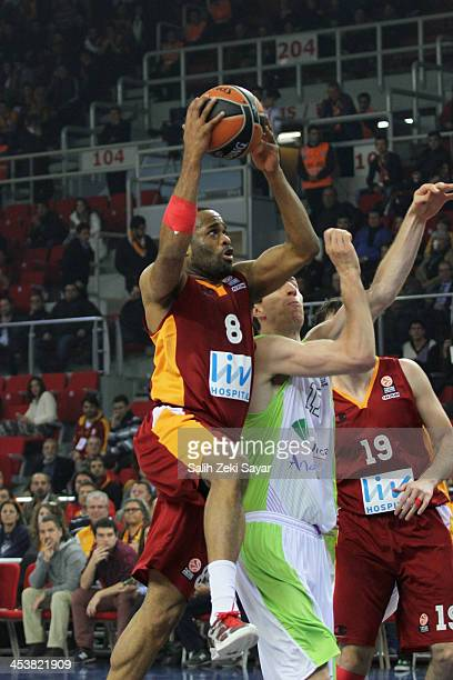 Malik Hairston of Galatasaray Liv Hospital in action during the 20132014 Turkish Airlines Euroleague Regular Season Date 8 game between Galatasaray...