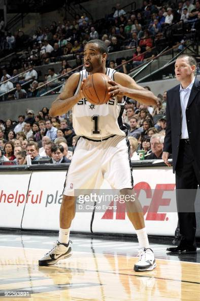 Malik Hairston of the San Antonio Spurs looks to pass during a preseason game against the Cleveland Cavaliers at ATT Center on October 16 2009 in San...