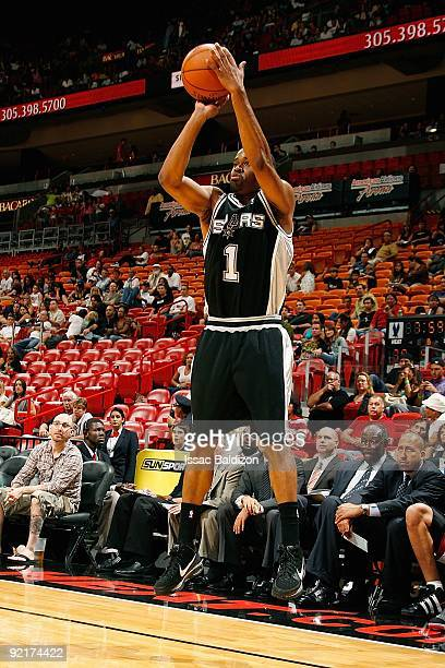 Malik Hairston of the San Antonio Spurs shoots a jumper during the preseason game against the Miami Heat on October 11 2009 at American Airlines...