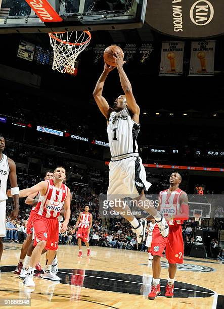Malik Hairston of the San Antonio Spurs shoots a layup against the Greece Olympiacos on October 9 2009 at the ATT Center in San Antonio Texas NOTE TO...