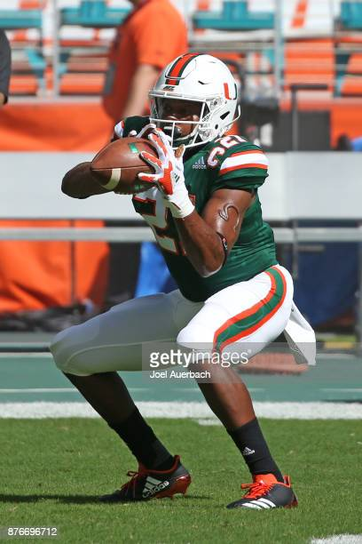 Malik Mayweather of the Miami Hurricanes catches the ball prior to the game against the Virginia Cavaliers on November 18 2017 at Hard Rock Stadium...
