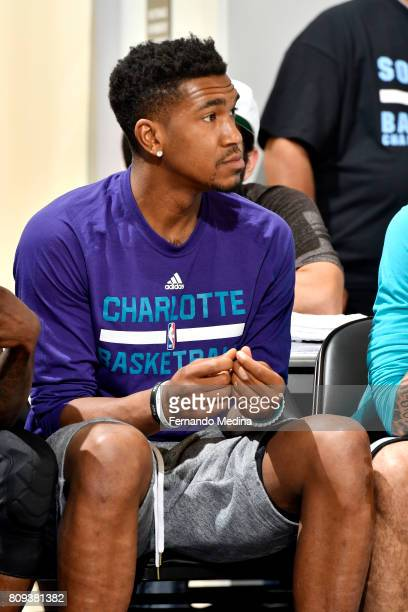 Malik Monk of the Charlotte Hornets looks on during the game against the Detroit Pistons during the 2017 Orlando Summer League on July 5 2017 at...