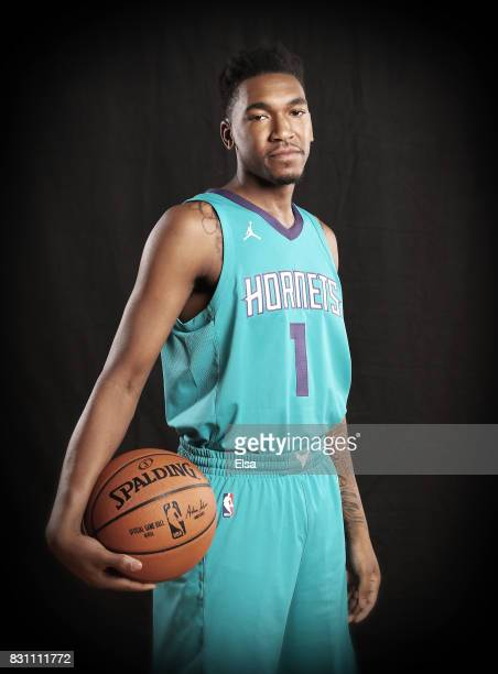 Malik Monk of the Charlotte Hornets poses for a portrait during the 2017 NBA Rookie Photo Shoot at MSG Training Center on August 11 2017 in...