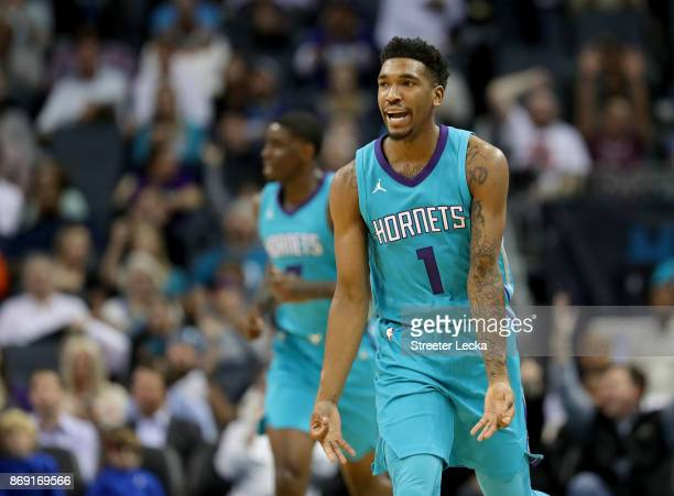 Malik Monk of the Charlotte Hornets reacts after making a basket against the Milwaukee Bucks during their game at Spectrum Center on November 1 2017...