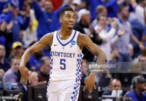 Malik Monk of the Kentucky Wildcats celebrates a shot against the Wichita State Shockers in the second half during the second round of the 2017 NCAA...