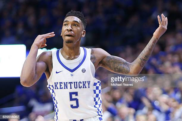 Malik Monk of the Kentucky Wildcats celebrates a three pointer against the South Carolina Gamecocks at Rupp Arena on January 21 2017 in Lexington...