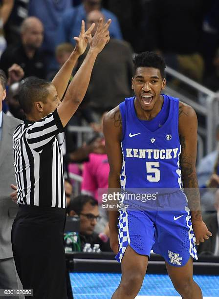 Malik Monk of the Kentucky Wildcats celebrates after hitting a goahead 3pointer late in the team's 103100 win over the North Carolina Tar Heels...