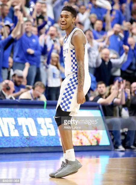 Malik Monk of the Kentucky Wildcats celebrates after making a basket in the second half against the Vanderbilt Commodores at Rupp Arena on February...