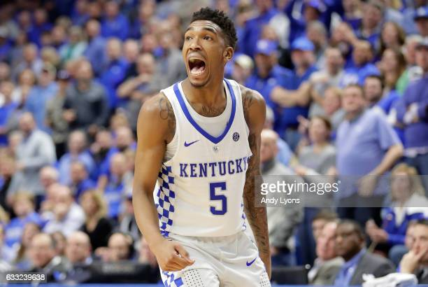 Malik Monk of the Kentucky Wildcats celebrates during the game against the Georgia Bulldogs at Rupp Arena on January 31 2017 in Lexington Kentucky