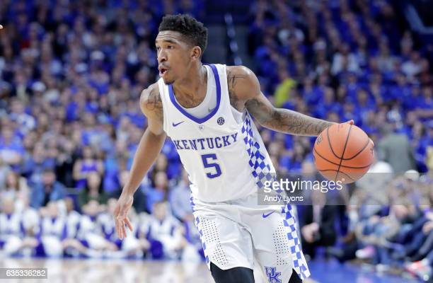 Malik Monk of the Kentucky Wildcats dribbles the ball against the Tennessee Volunteers at Rupp Arena on February 14 2017 in Lexington Kentucky