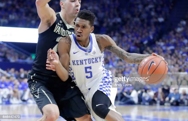 Malik Monk of the Kentucky Wildcats dribbles the ball against the Vanderbilt Commodores at Rupp Arena on February 28 2017 in Lexington Kentucky