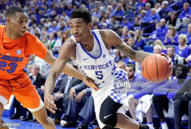 Malik Monk of the Kentucky Wildcats dribbles the ball during the game against the Florida Gators at Rupp Arena on February 25 2017 in Lexington...