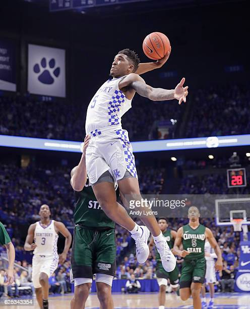 Malik Monk of the Kentucky Wildcats dunks the ball during the game against the Cleveland State Vikings at Rupp Arena on November 23 2016 in Lexington...
