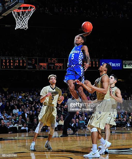 Malik Monk of the Kentucky Wildcats goes up for a dunk against Matthew Fisher Davis of the Vanderbilt Commodores during the first half at Memorial...