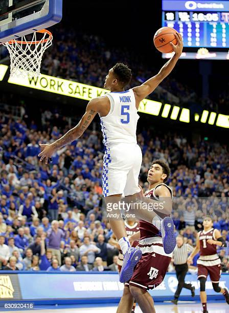 Malik Monk of the Kentucky Wildcats goes up to dunk the ball during the game Texas AM Aggies at Rupp Arena on January 3 2017 in Lexington Kentucky