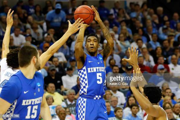 Malik Monk of the Kentucky Wildcats shoots against Justin Jackson of the North Carolina Tar Heels in the first half during the 2017 NCAA Men's...