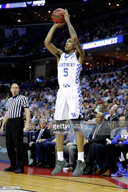 Malik Monk of the Kentucky Wildcats shoots in the second half against the UCLA Bruins during the 2017 NCAA Men's Basketball Tournament South Regional...