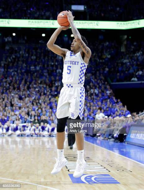 Malik Monk of the Kentucky Wildcats shoots the ball against the Tennessee Volunteers at Rupp Arena on February 14 2017 in Lexington Kentucky