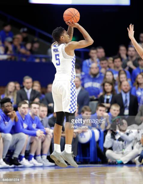Malik Monk of the Kentucky Wildcats shoots the ball against the Vanderbilt Commodores at Rupp Arena on February 28 2017 in Lexington Kentucky