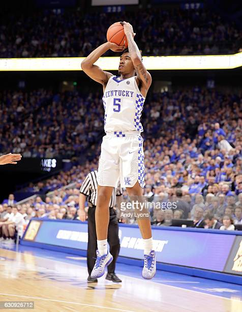 Malik Monk of the Kentucky Wildcats shoots the ball during the game Texas AM Aggies at Rupp Arena on January 3 2017 in Lexington Kentucky