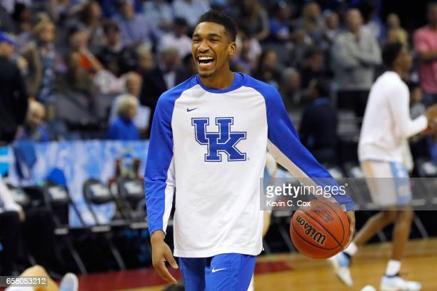 Malik Monk of the Kentucky Wildcats warms up before the game against the North Carolina Tar Heels during the 2017 NCAA Men's Basketball Tournament...