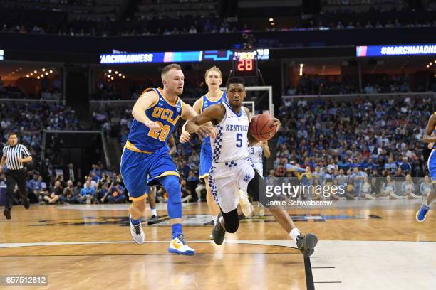Malik Monk of the University of Kentucky drives to the basket against Bryce Alford of UCLA during the 2017 NCAA Men's Basketball Tournament at...