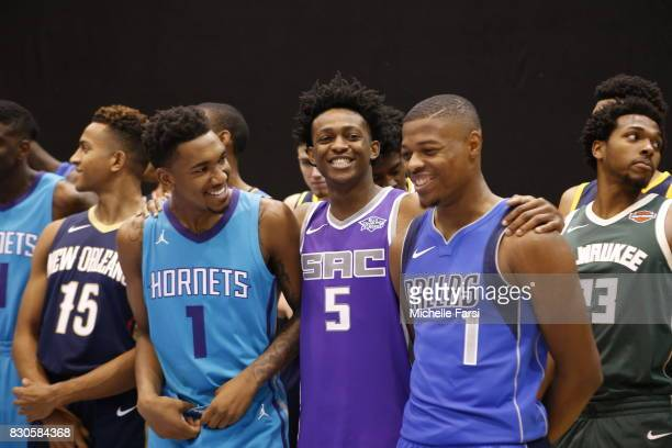 Malik Monko DeAaron Fox and Dennis Smith Jr of the Sacramento Kings behind the scenes during the 2017 NBA Rookie Photo Shoot at MSG training center...