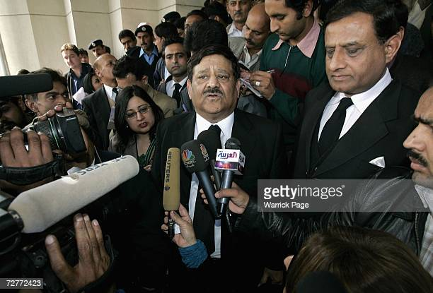 Malik Qayyum lawyer for father of Scottish schoolgirl Misbah Rana talks to reporters outside the Islamabad Supreme Court on December 8 in Islamabad...