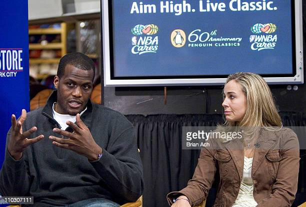 Malik Rose Becky Hammon during Aim High Celebrating The Penguin Classics 60th Anniversary in Conjunction with NBA Cares 'Read to Achieve' at The NBA...