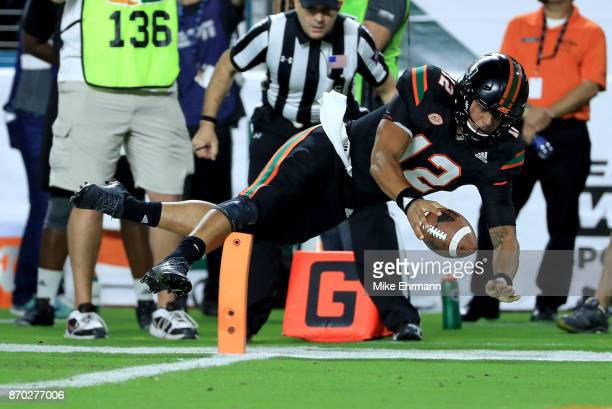 Malik Rosier of the Miami Hurricanes rushes during a game against the Virginia Tech Hokies at Hard Rock Stadium on November 4 2017 in Miami Gardens...