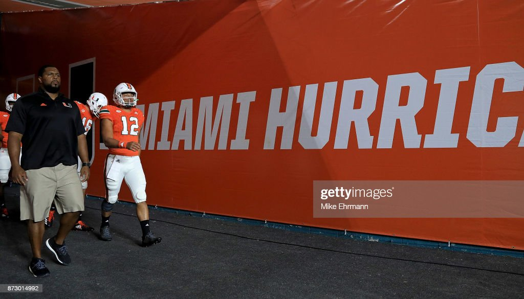 Malik Rosier #12 of the Miami Hurricanes warms up during a game against the Notre Dame Fighting Irish at Hard Rock Stadium on November 11, 2017 in Miami Gardens, Florida.