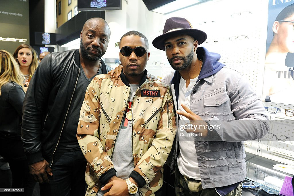 Malik Yoba Nas and Omari Hardwick attend the launch of The Ghostbusters Collection presented by Italia Independent and Nas on May 20 2016 in New York...