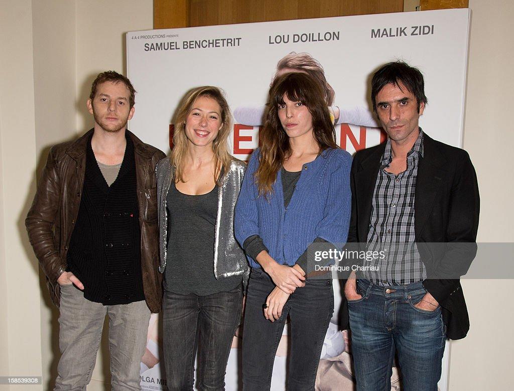 Malik Zidi, Marilyne Fontaine, Lou Doillon and Samuel Benchetrit attend 'Un Enfant De Toi' Paris Premiere at Cinema l'Arlequin on December 18, 2012 in Paris, France.
